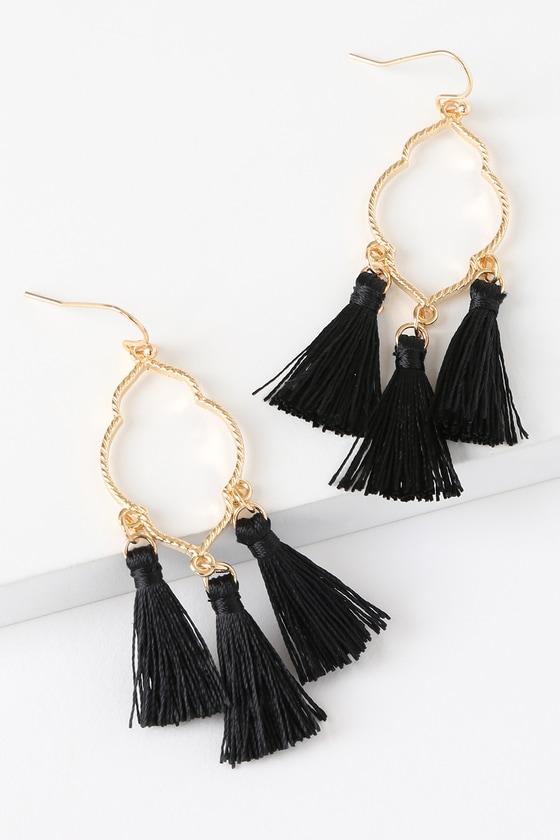 Boho Tassel Earrings Gold Black Tassel Earrings Boho Gold and Black Tassel Earrings