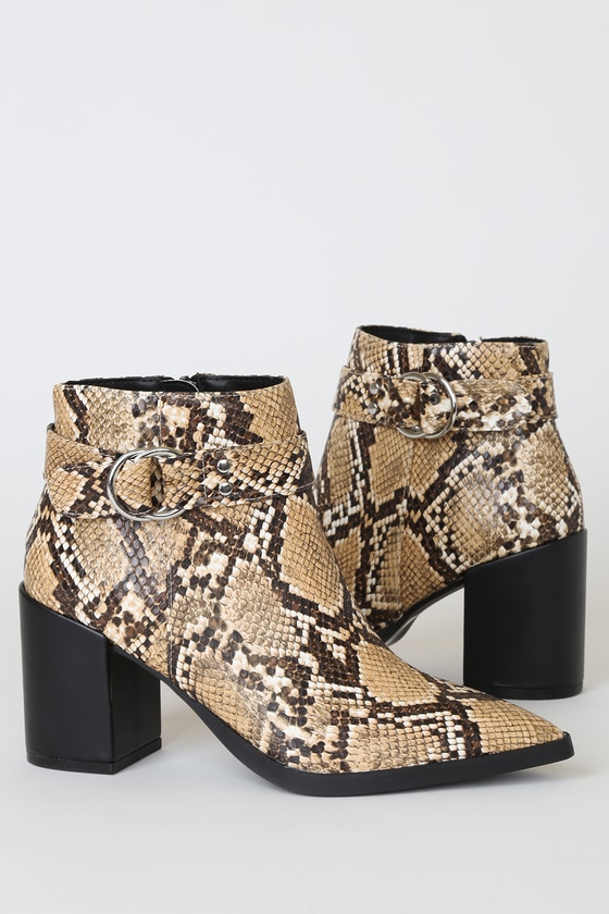 Caitlyn Beige and Brown Snake Pointed-Toe Ankle Booties