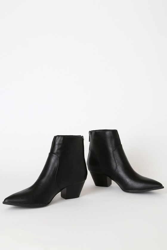 Deacon Black Crinkle Pointed-Toe Ankle Booties