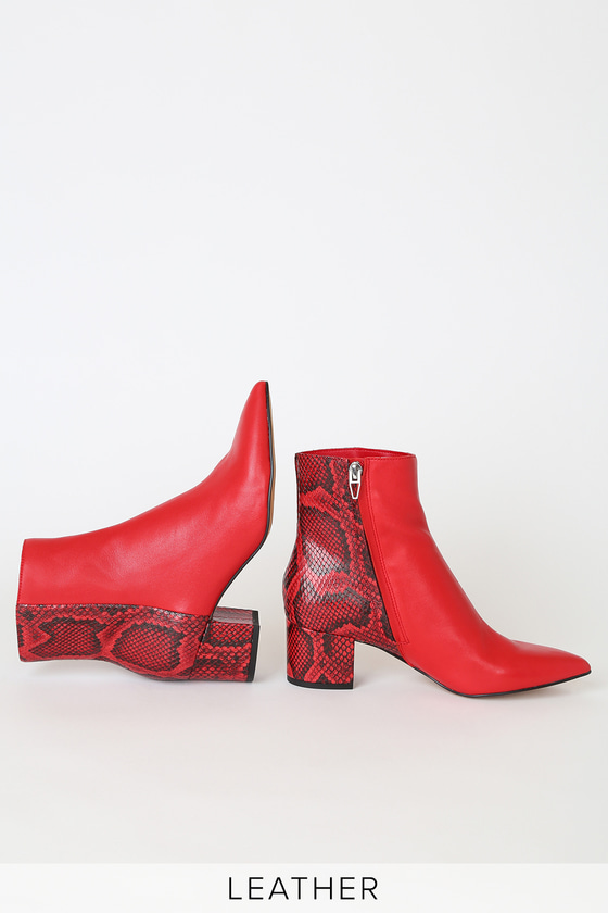 Lulus Exclusive! The Dolce Vita X Lulus Bel Red Multi Snake Leather Ankle Booties are the talk of the town! Smooth genuine leather shapes a sleek pointed-toe upper, and ankle high shaft, with a contrasting snake-embossed ankle and heel for a little added flair! 2. 75\