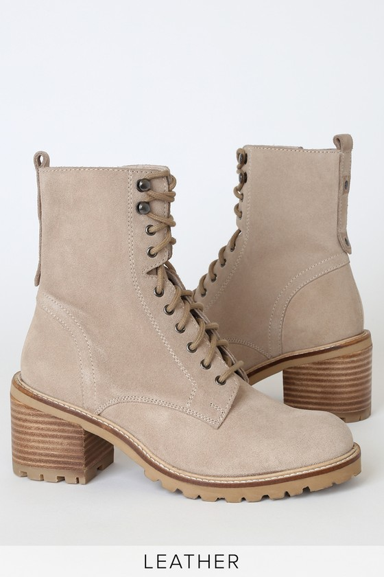 Irresistible Sand Genuine Suede Leather Mid-Calf Lace-Up High Heel Boots