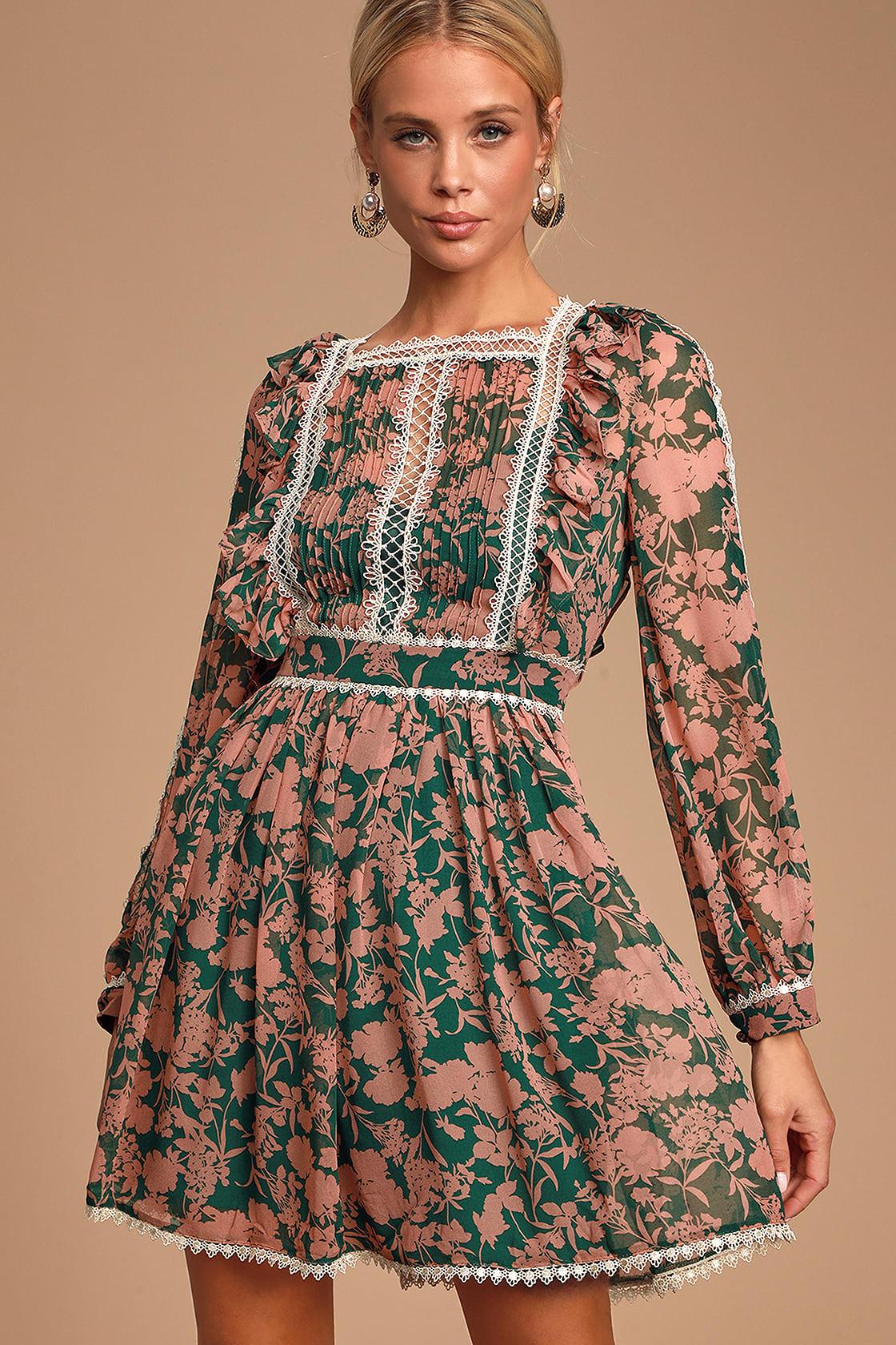 Tatlana Pink And Green Floral Print Long Sleeve Skater Dress by Jovonna London