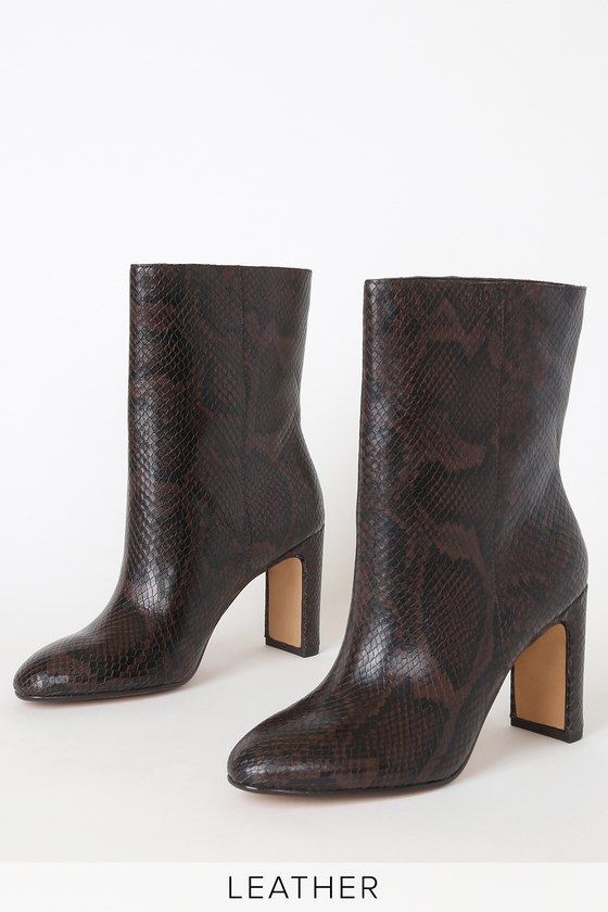 Chase Espresso Snake Print Leather Mid-Calf High Heel Boots