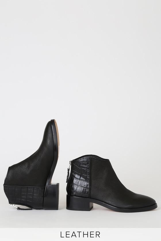 Tucker Noir Crocodile-Embossed Leather Ankle Booties