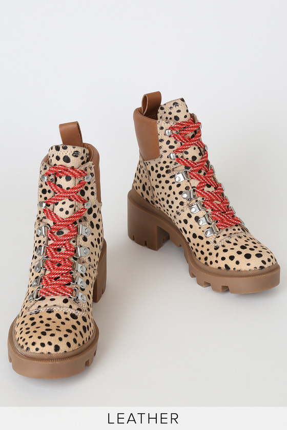 Rubi Leopard Calf Hair Lace-Up Platform Boots - Trendy Women's Shoes