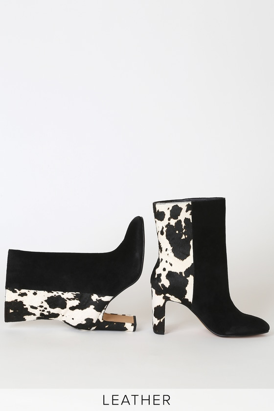 Lulus Exclusive! Step into a sophisticated look with the Dolce Vita X Lulus Chase Black Multi Suede Mid-Calf Boots! Genuine suede and dyed cow hair, in white and black hues, work together to create a chic two-tone look across these ultra-trendy boots with an almond toe upper, block heel, and mid-calf shaft. Pull-on design. Fit: This garment fits true to size. 3. 5\