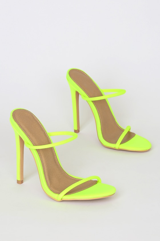 Chic Neon Lime Green Heels - High Heel