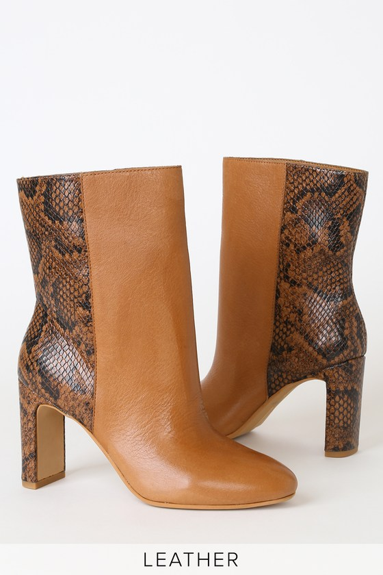 Chase Cognac Multi Leather Mid-Calf High Heel Boots