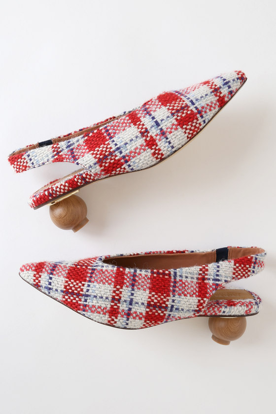 Spheric White Multi Check Slingback Pumps - Cute Womens shoes