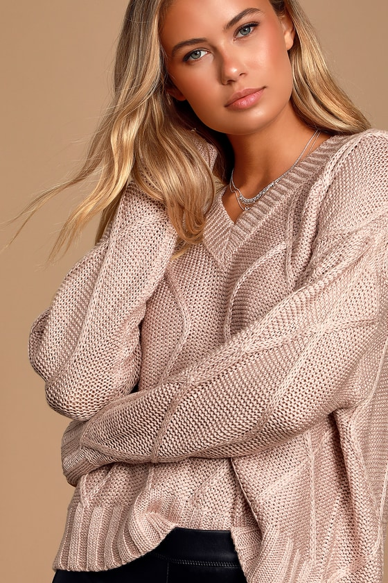 Adler Blush Cable Knit Sweater by Rd Style