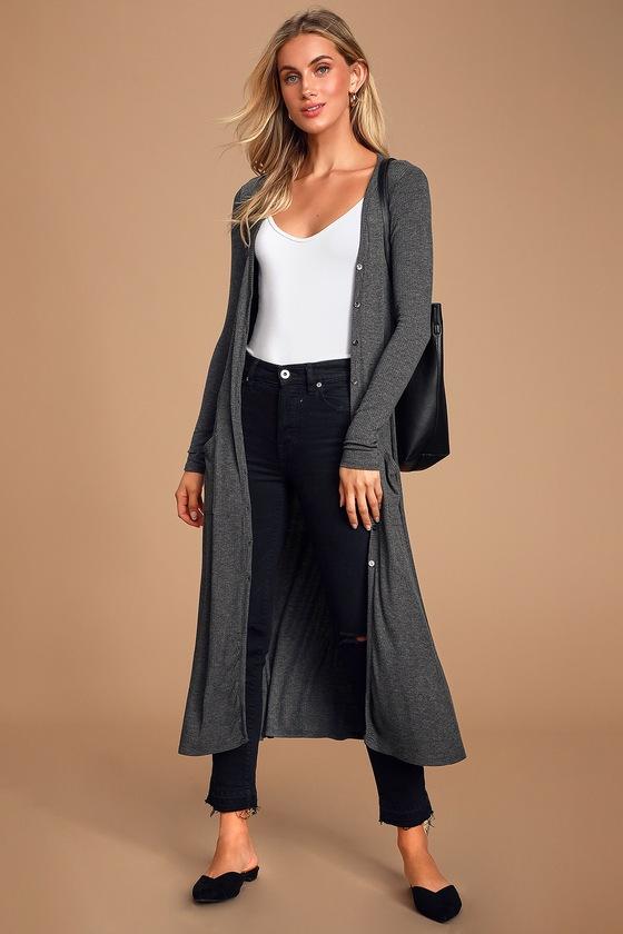 Graceful Ways Heather Charcoal Grey Long Cardigan Sweater by Lulus Basics