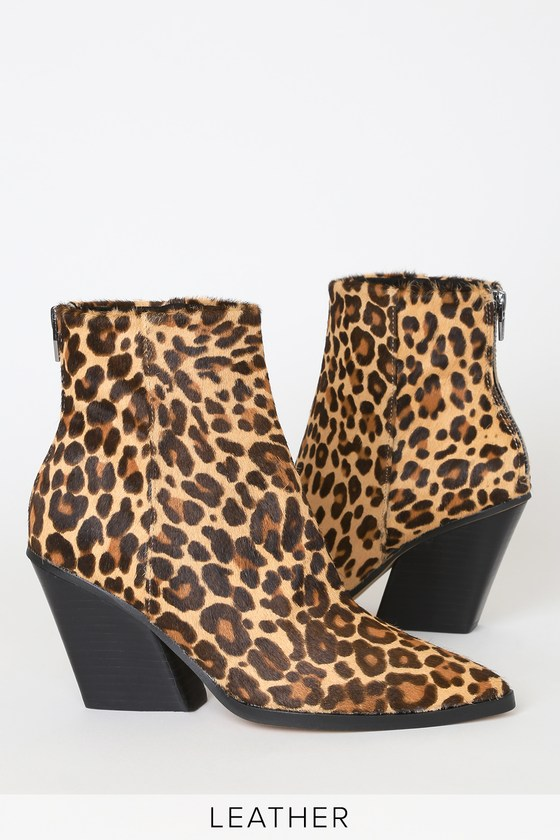 Issa Leopard Calf Hair Pointed-Toe Ankle Booties