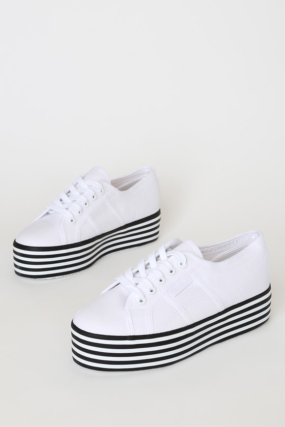 Superga 2790 COTW White Striped Platform Sneakers!