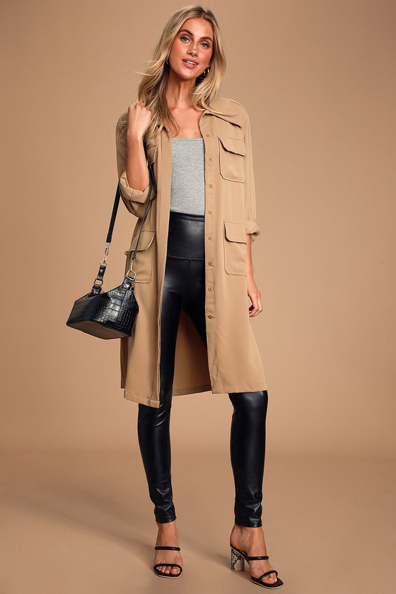 Franki Taupe Button Down Trench Coat - Lulus