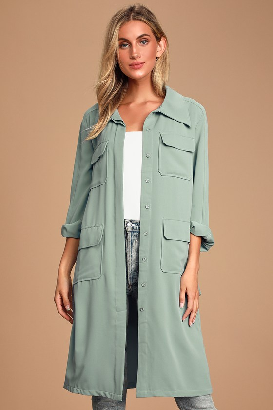 Franki Light Blue Button Down Trench Coat - Lulus