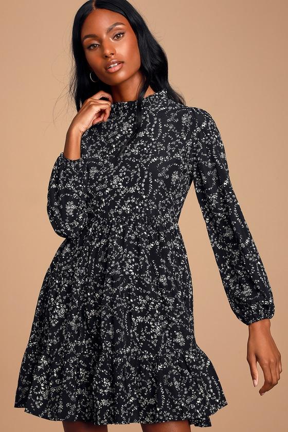 Little Love Black Floral Print Long Sleeve Babydoll Dress by Molly Bracken