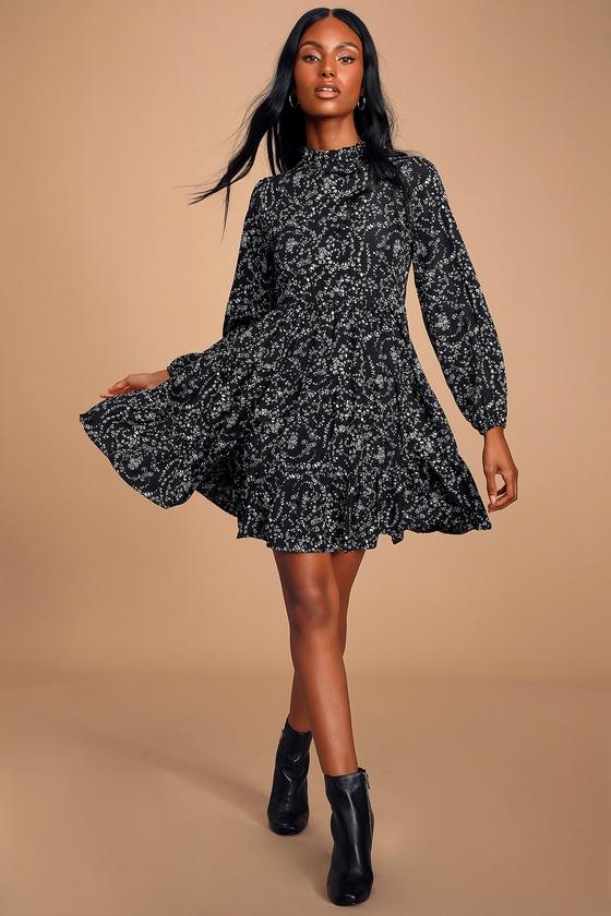 Little Love Black Floral Print Long Sleeve Babydoll Dress - Lulus