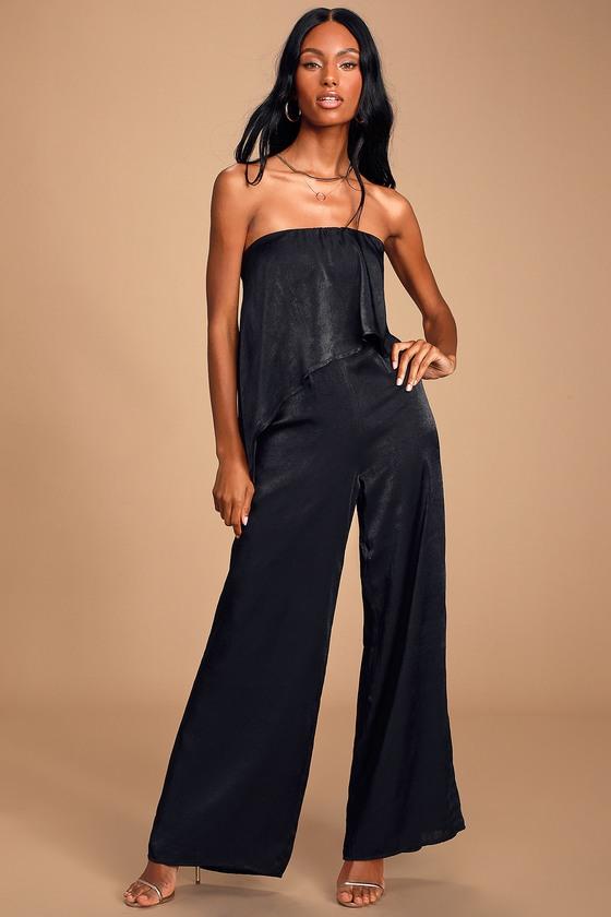 70s Jumpsuit   Disco Jumpsuits – Sequin, Striped, Gold, White, Black Raven Black Satin Strapless Wide Leg Jumpsuit - Lulus $74.00 AT vintagedancer.com