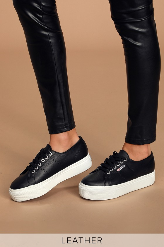2790 NAPPALEAW Black Nappa Leather Platform Sneakers