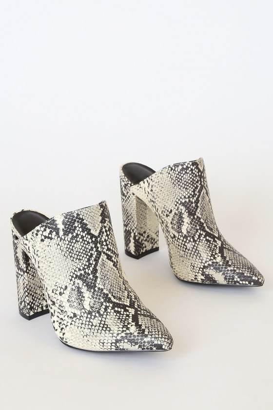 Kellen Stone And Black Snake Pointed Toe Mules by Lulu's
