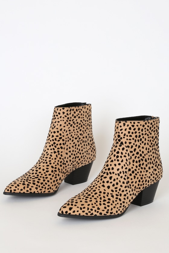 Deacon Leopard Suede Pointed-Toe Ankle Booties