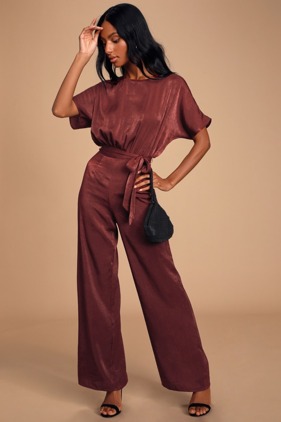 MIRABELLA WINE RED SATIN SHORT SLEEVE WIDE-LEG JUMPSUIT