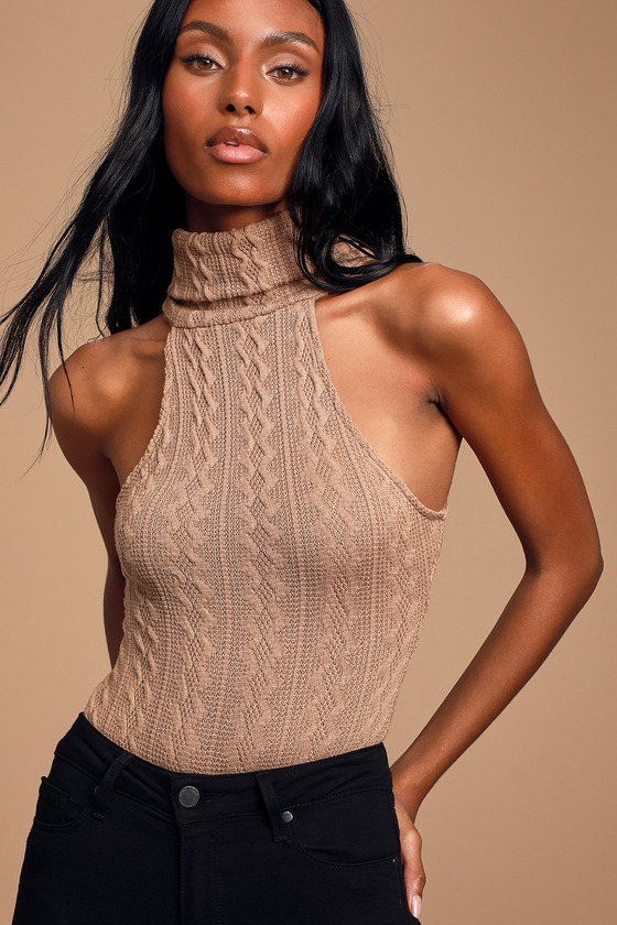ROMERO TAUPE CABLE KNIT SLEEVELESS TURTLENECK BODYSUIT