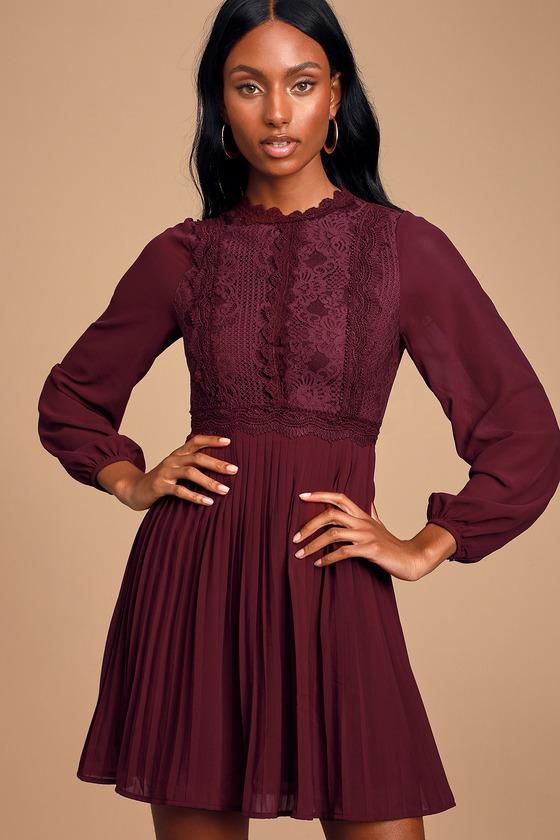 Charlisa Burgundy Lace Long Sleeve Skater Dress