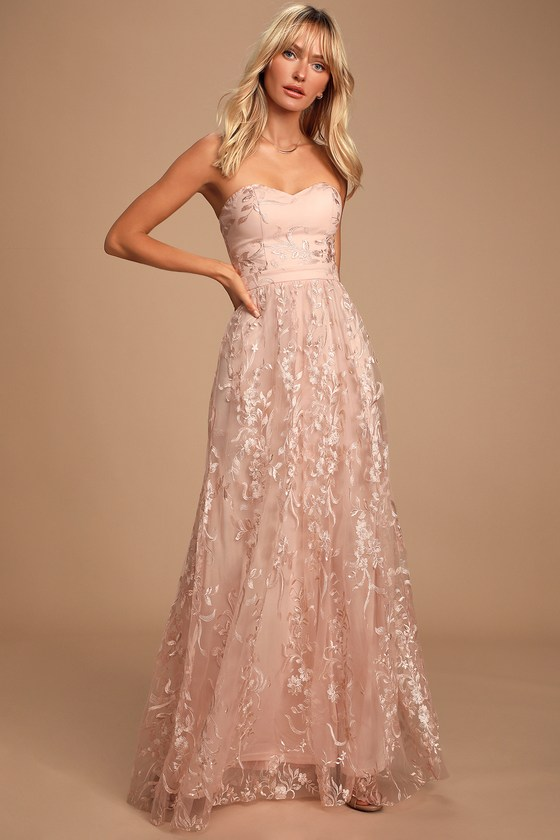 Andria Blush Pink Embroidered Strapless Maxi Dress