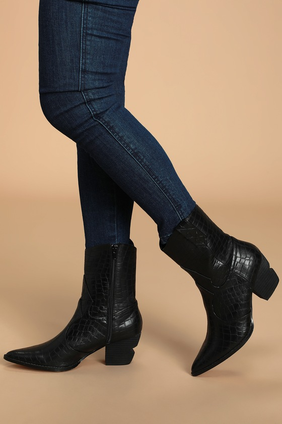 After Dark Black Crocodile Embossed Pointed-Toe Boots