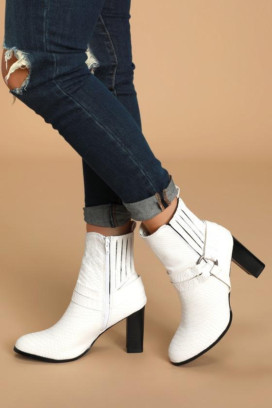 Breakaway White Snake Embossed Mid-Calf High Heel Boots