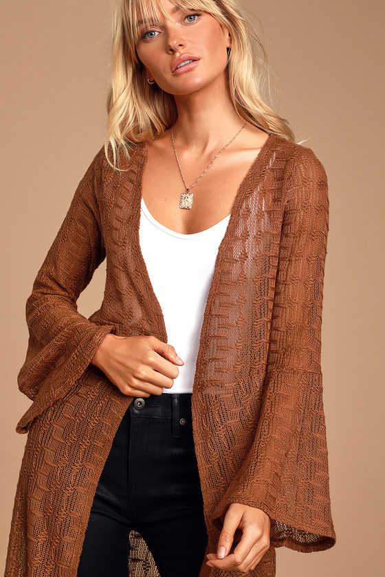 Image of Carissa Camel Crochet Bell Sleeve Duster - Lulus