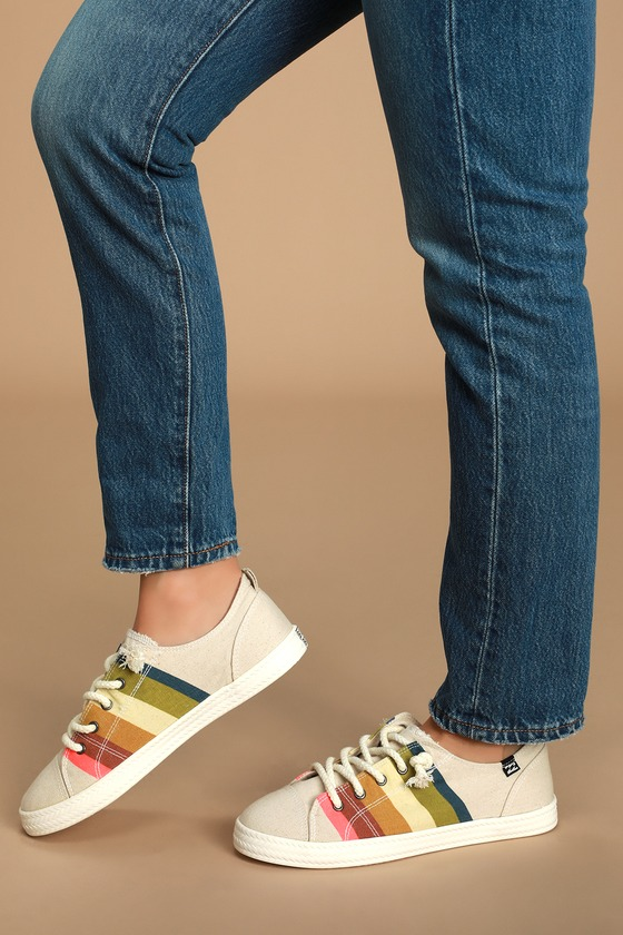 Marina Honey Gold Multi Striped Canvas Sneakers - Cute womens shoes