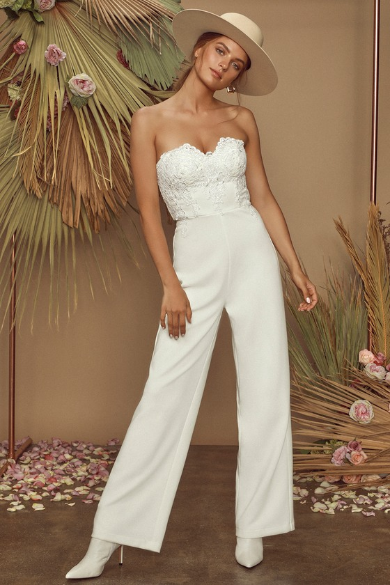 All Your Heart White Lace Strapless Jumpsuit by Lulus