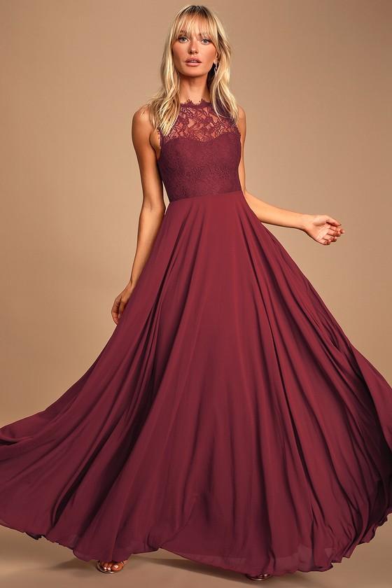 Divine Evening Burgundy Lace Chiffon Maxi Dress