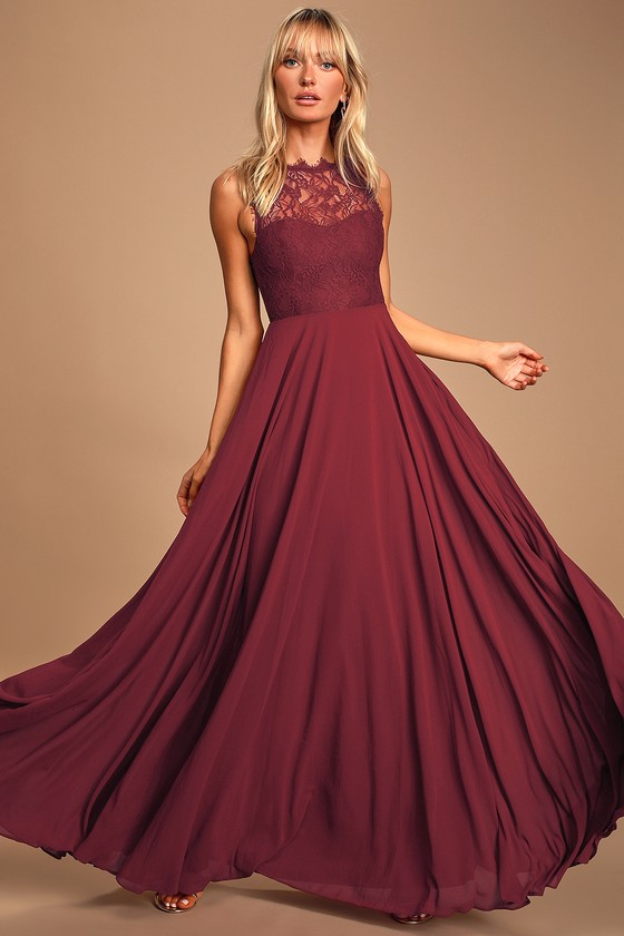 Divine Evening Burgundy Lace Chiffon Maxi Dress - Long Formal Ballgown