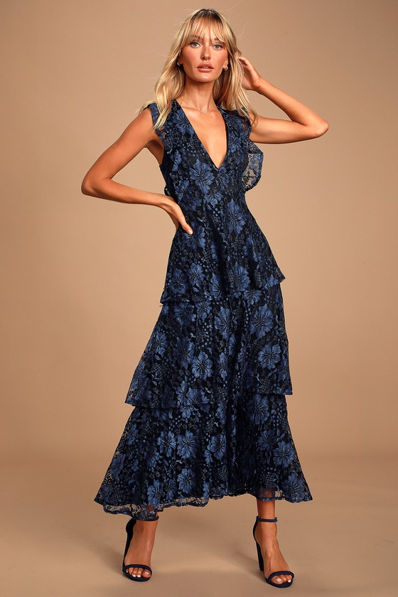 Molinetto Navy Blue Lace Ruffled Tiered Sleeveless Maxi Dress
