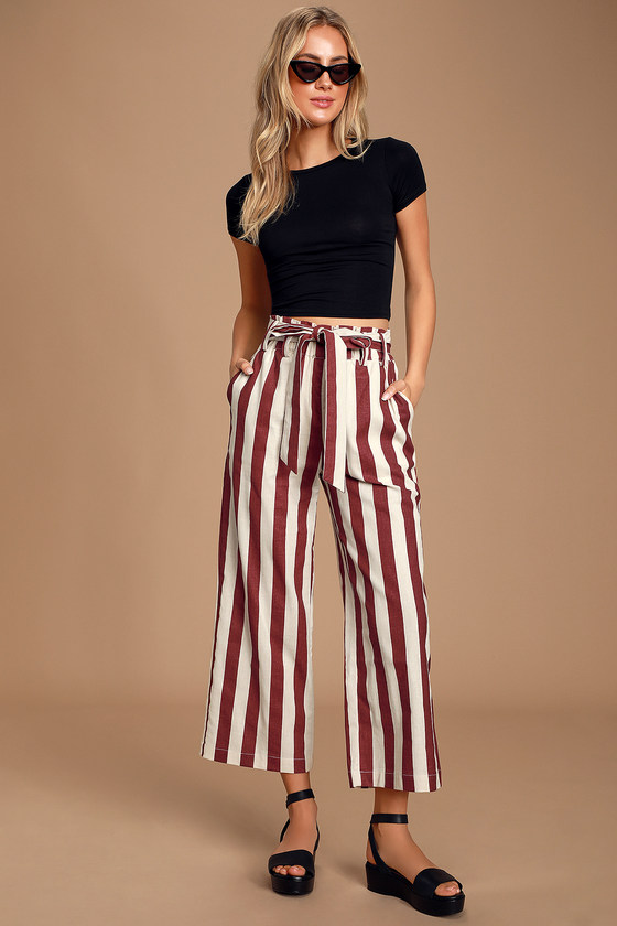 Myriam Cream and Burgundy Striped High-Waisted Culottes - Trendy Jeans Outfit