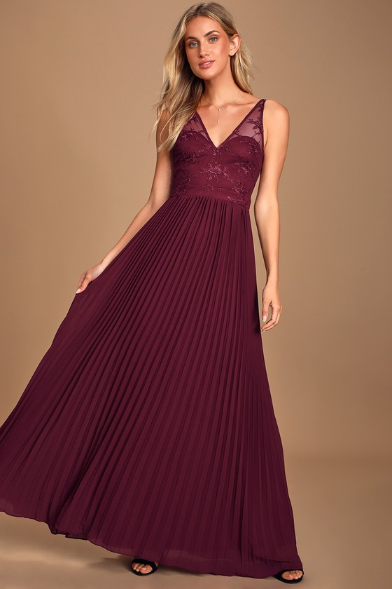 Petals And Pleats Burgundy Lace Pleated Maxi Dress
