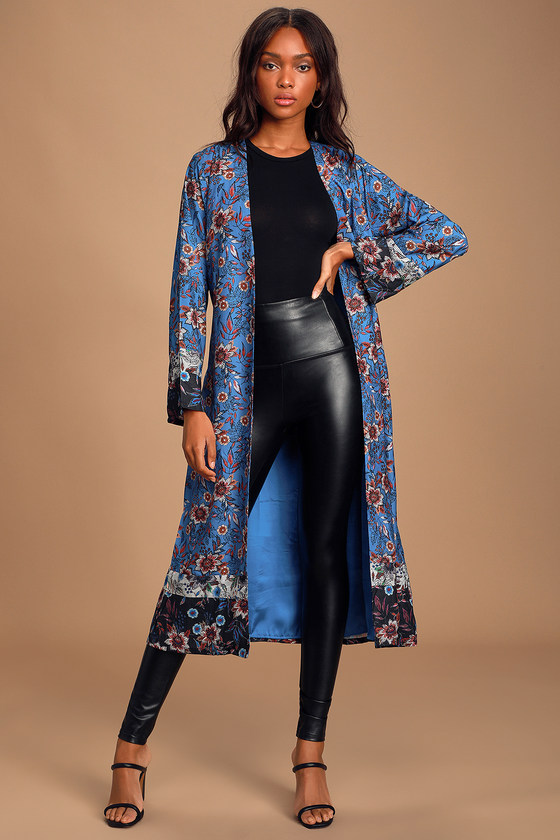 Luxe Satin Robe - Royal Blue Floral Print Robe - Boho Duster
