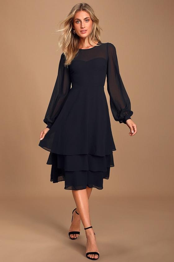 Vintage 1920s Dresses – Where to Buy Crystal Clear Black Long Sleeve Tiered Midi Dress - Lulus $58.00 AT vintagedancer.com