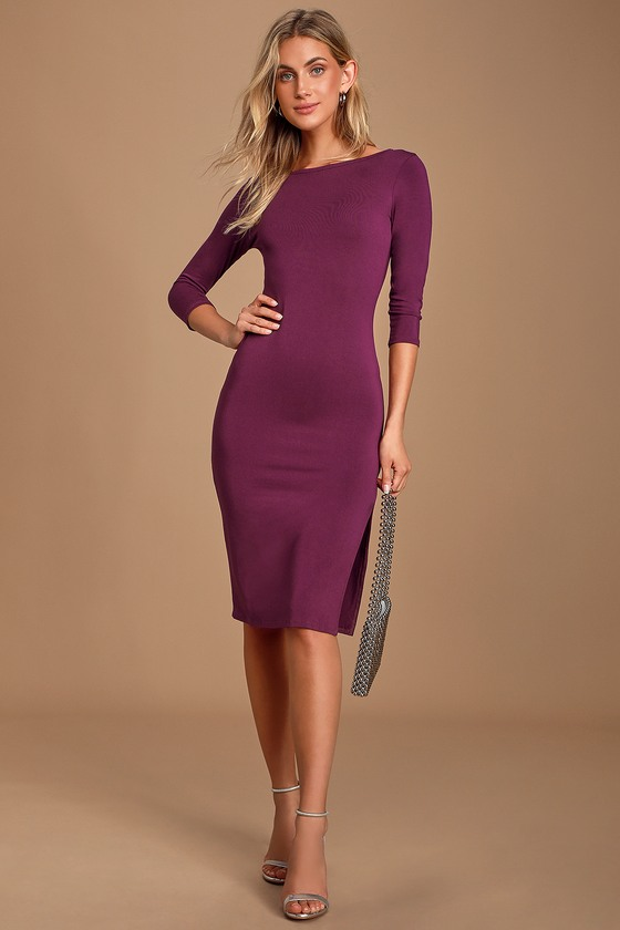 Elegant Artistry Purple Bodycon Midi Dress