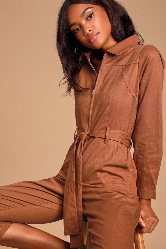 LIFE'S AMAZING RUST BROWN LONG SLEEVE ZIP-FRONT BOILER JUMPSUIT