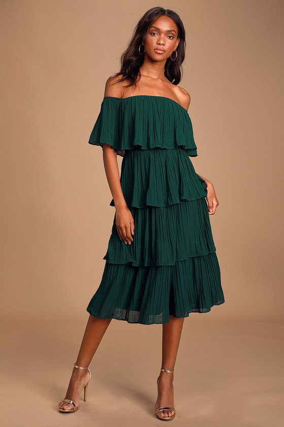 Gala Ready Forest Green Off The Shoulder Ruffle Midi Dress by Lulus