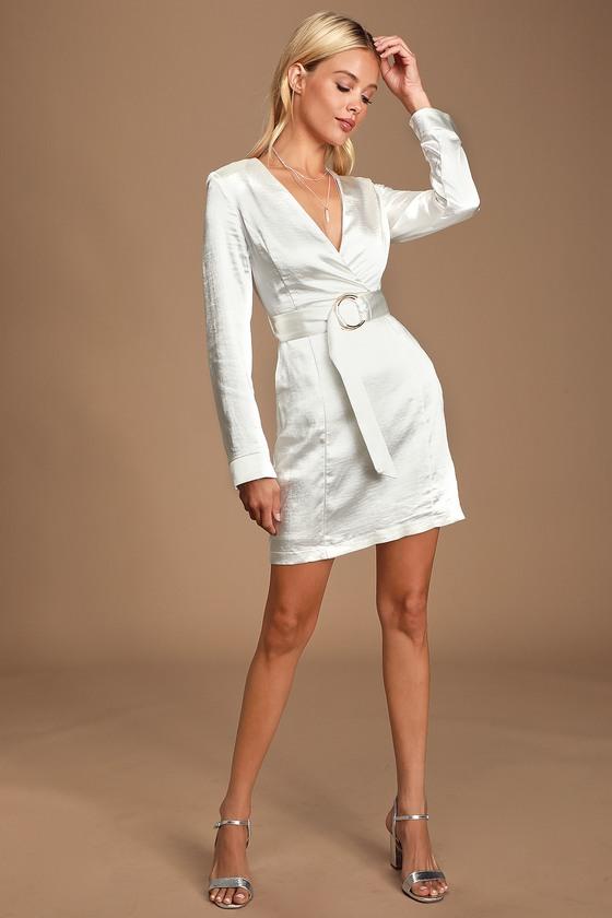 1960s – 70s Cocktail, Party, Prom, Evening Dresses Elisha White Satin Long Sleeve Belted Mini Dress - Lulus $75.00 AT vintagedancer.com
