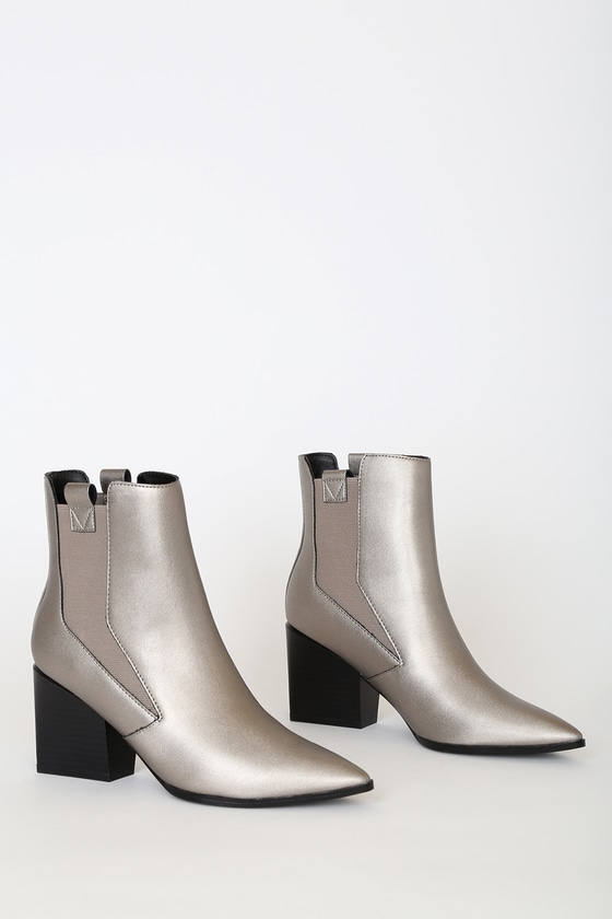 Finigan Pewter Pointed-Toe Ankle Booties