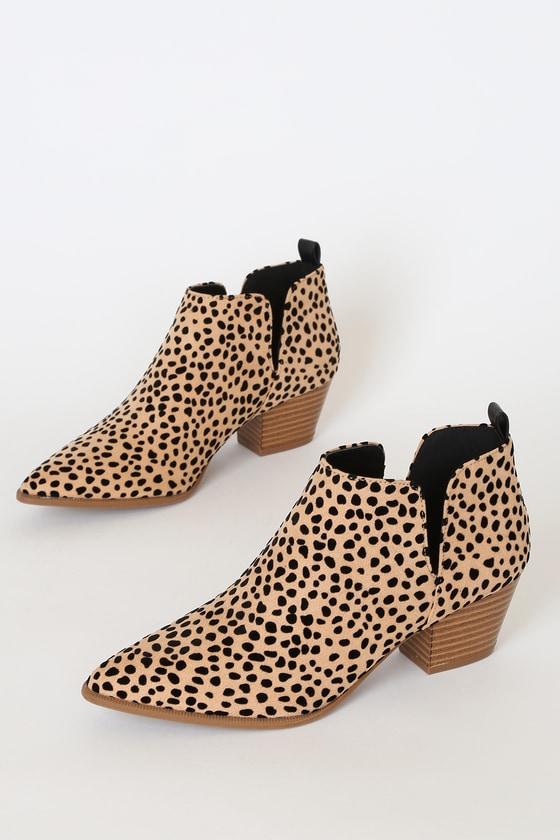 Marca Tan and Black Cheetah Print Ankle Booties
