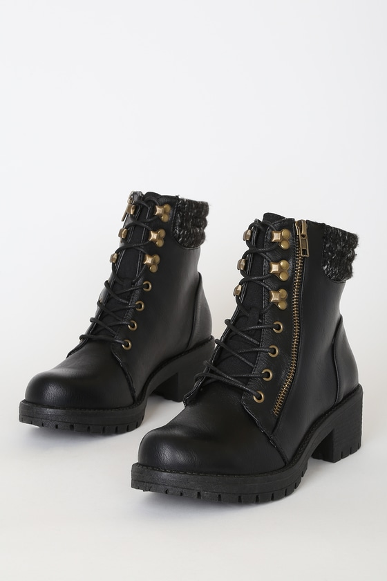 Carole Black Crinkle Mid-Calf Lace-Up High Heel Boots