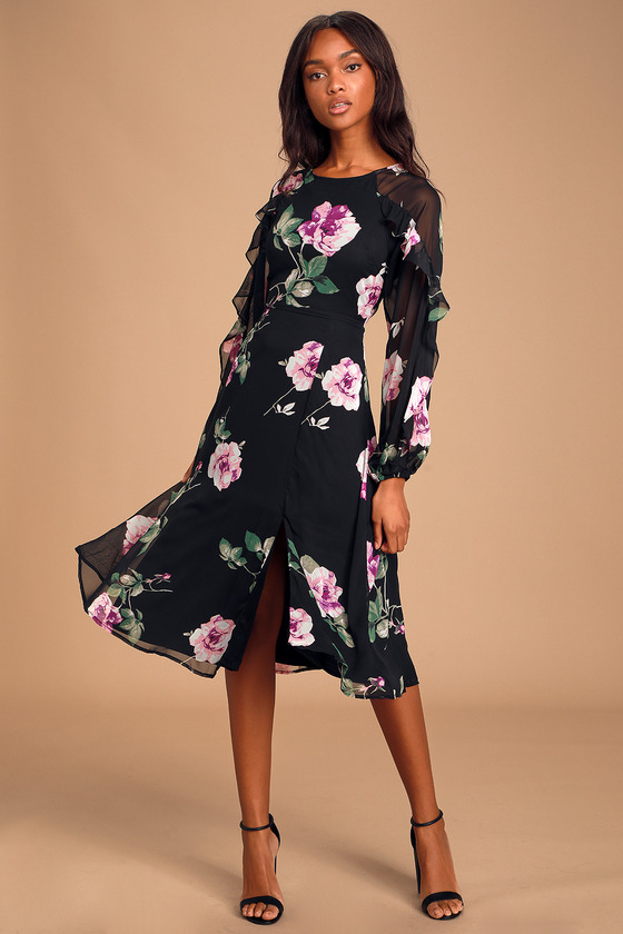 store check out buy good Cute Black Floral Dress - Floral Midi Dress - Long Sleeve Midi