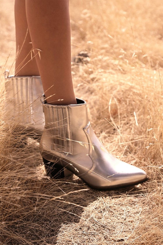 Mandy Jo Silver Pointed-Toe Ankle Booties
